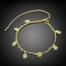 Wholesale Flower Shape Anklets Foot Jewelry Gold Color Anklets Hollow Out Flowers white gold Color Female