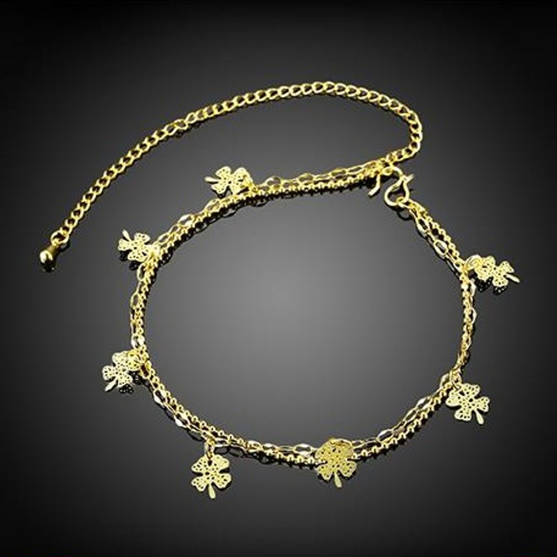 Wholesale Flower Shape Anklets Foot font b Jewelry b font Gold Color Anklets Hollow Out Flowers