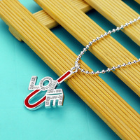 Valentine S Day Fashion Romantic LOVE Necklace Woman 925 Silver Long Bead Chain Red Pendant Charm