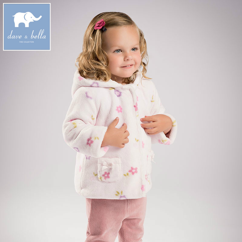 DB6131 dave bella autumn infant baby girl fashion floral coats toddler Hooded coat children cute hight quality clothes db5975 dave bella autumn infant baby unisex boys girls coat fashion clothes toddler baby warm hooded coats children high quality
