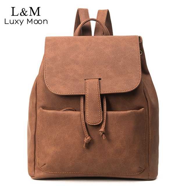 0098b3e62d8f7 Mujeres mochila moda retro pu cuero para adolescentes Niñas escuela mochilas  mochila negro sólido marrón Bolsas