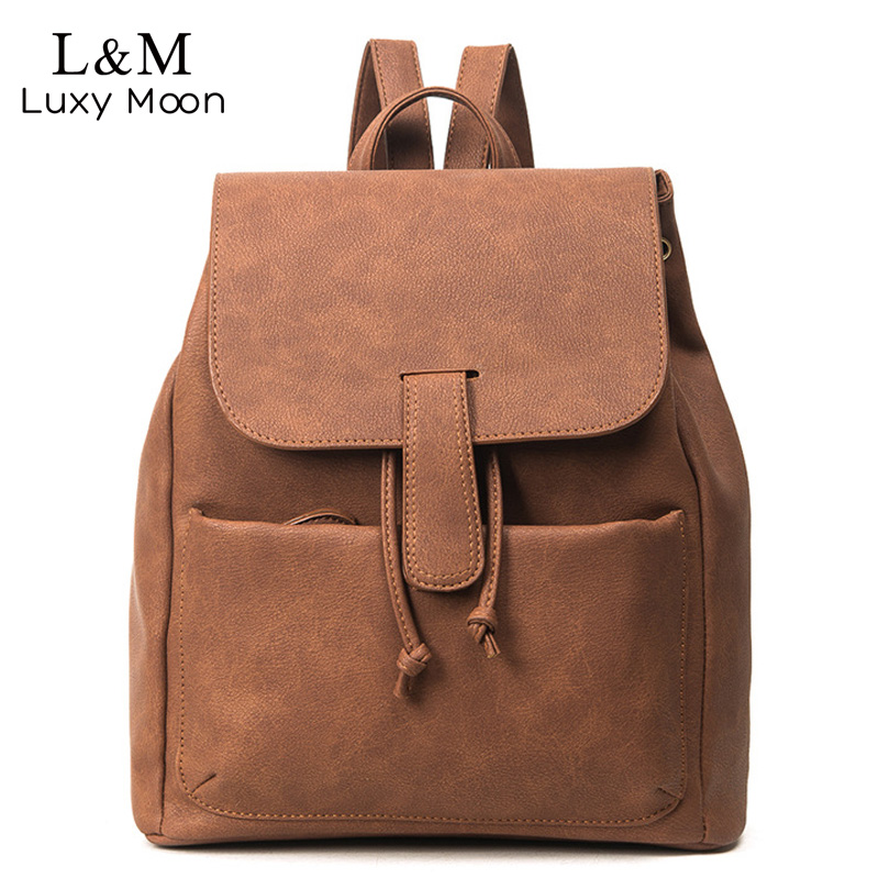 Women Backpack Retro Fashion PU Leather Bag For Teenage Girls School Backpacks Black Rucksack Brown Solid Bags mochila XA109H