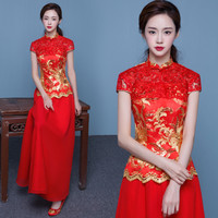 New Cheongsam Dress Women Red Lace Cheongsams Sequins Chinese Wedding Dresses Two Pieces Long Robes Qipao