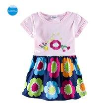 JUXINSU Toddler Girls Summer Short Sleeve Dresses Flower Embroidery 3-8 Years for 1-6