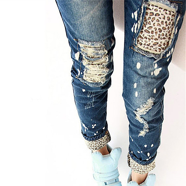 a7066004f9 Fashion Brand Leopard Slim Fit Pencil Jeans Woman Trousers Casual Ripped Jeans  Denim Pencil Pants Asian/Tag Size S 2XL-in Jeans from Women's Clothing & ...