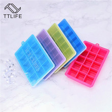 TTLIFE 15-Cavity Large Silicone Ice Cube Tray Maker Square Shape Mold Fruit Cream Mould Bar Kitchen Accessories New