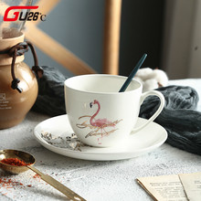 1 PC Modern Minimalist Flamingo Ceramic Coffee Milk Cup Set Porcelain Tea Cup & Saucer Set For Gift Hot Selling
