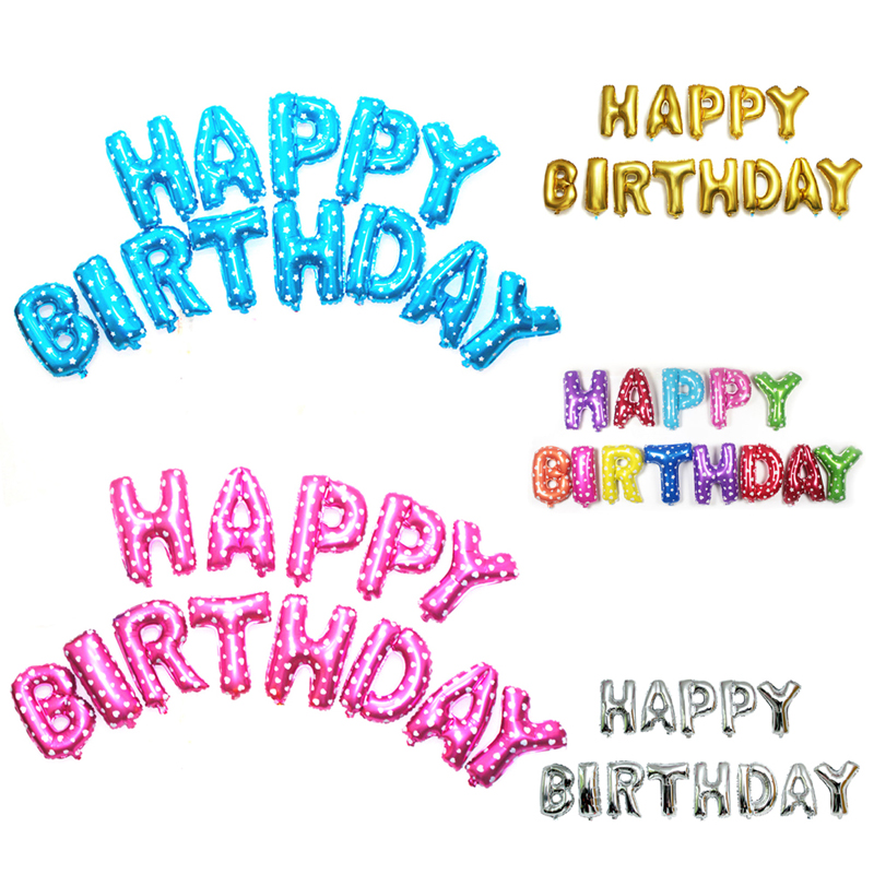 40cm Happy Birthday Letters Balloons Aluminium Foil Balloon Helium Ballons for Birthday Wedding Party Decor
