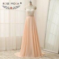 Роза Moda высокое Средства ухода за кожей шеи Персик вечернее платье длиной до пола Длина ручной Кристалл бисера вырез сзади торжественное ро...