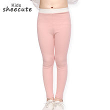 SheeCute Girls Ankle Length Cotton Leggings Spring Thick Fabric Stretch leggings Kids Autumn skinny mid waist pants For Girl SCH