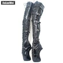 """18 см/"""" ; туфли-лодочки на очень высоком каблуке модные женские туфли на шнуровке с пряжкой, обувь на высоком толстом каблуке балетки Соблазнительные Туфли-Фетиш на молнии Сапоги выше колена облегающие сапоги до бедра"""