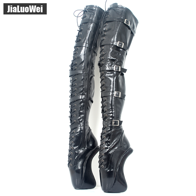 18cm/7 Extreme High heel Fashion Women lace up buckles Hoof Heel Ballet sexy Fetish Zip over-the-knee thigh high long boots jialuowei new extreme 18cm 7 high heels fetish sexy ballet boots sex matt zip wedges leather over the knee thigh high boots