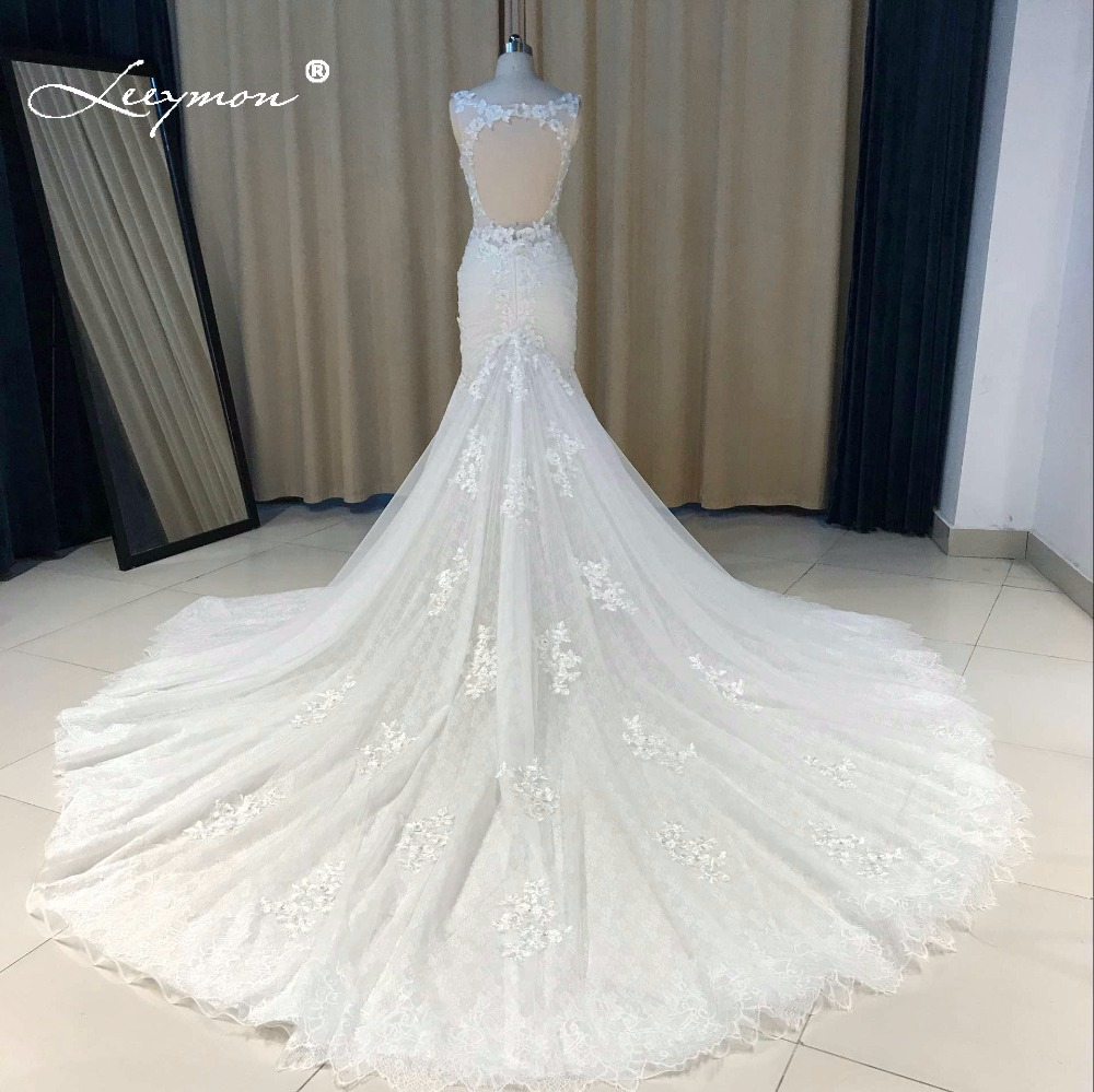 Weddings & Events High-end V-neck Sleeveless Lace Up Wedding Dress 2019 New Appliques Pearls Sexy Fashion Bridal Wedding Gown Real Photo Sale Price