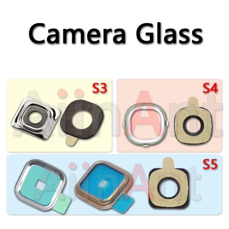 AiinAnt Original Back Rear Camera Glass <font><b>Lens</b></font> Ring Cover For Samsung Galaxy S3 i9300 S4 i9500 <font><b>S5</b></font> With Sticker Replacement Parts image