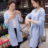 Medium Long Placketing Sweater Thick Cardigan Women S Loose Pocket Long Sleeve Outerwear