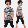 2016 children clothes bow striped casual  baby boys clothes sets shorted-sleeved t-shirt+pants 2pcs suits