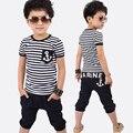 2016 meninos roupa do bebê conjuntos crianças roupas arco listrado ocasional curto-de mangas compridas t-shirt + calças 2 pcs ternos