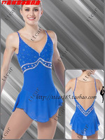 blue dress skating competition women crystal custom figure skating dress for competition hot sale free shipping ice clothing