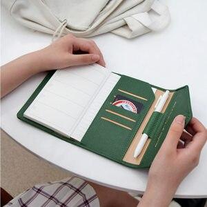 Image 4 - Блокнот Yiwi из искусственной кожи с 3 складками, стильный Органайзер хобо из искусственной кожи с крокодиловым узором, розовый, черный, красный, 17x12 см, A6