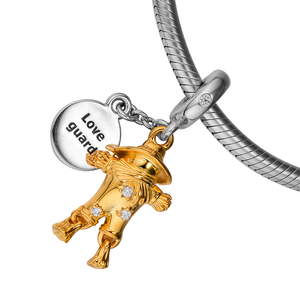 Genuine Sterling Silver 925 Guardian Angel Charm Clip On Pendant F20C