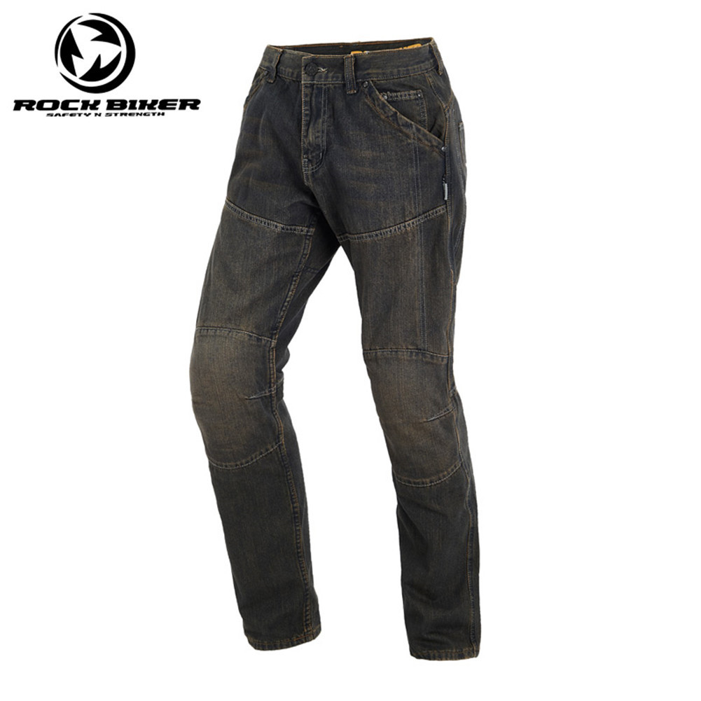 Rock Biker Loose Cotton Denim Jeans Motorcycle Trousers Pantalon Moto Hombre Equipamento Motocross Racing Pants With Kevlar rock biker men cotton retro denim jeans motorcycle moto racing pants pantaloni motocross motorcycle enduro riding trousers