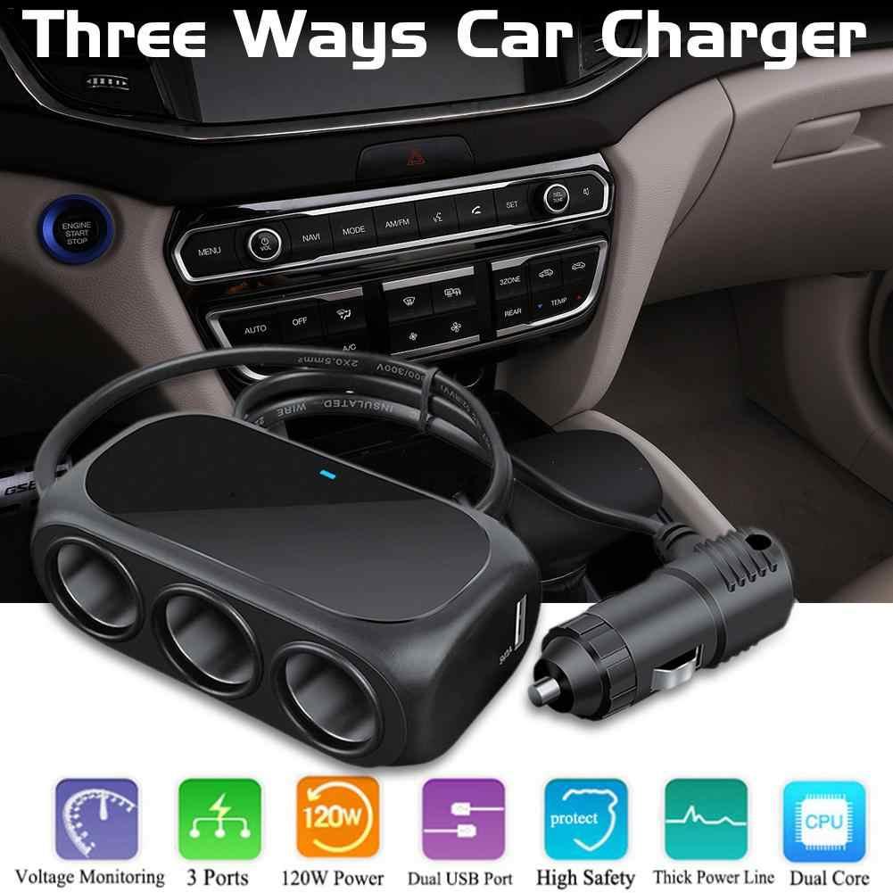 Three In One Universal 12V 24V Multi Socket Expander Charger Car Cigarette Lighter Splitter Dual USB Plug Adapter Car Accessorie