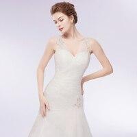 Charming V Neck Beaded Mermaid Wedding Dress 2018 Sexy Transparent Tulle Bridal Dress with Long Train Vestido de Noiva 2