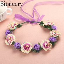 Sitaicery Children Flower Crown Hair Band Wedding Floral Headband Garland Ribbon Bow Girl Wreath Elastic Accessories