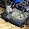 Famosa Marca de Couro das Mulheres Saco 2017 Novo Europeu Cinza Boston Bolsa Mulheres Messenger Bag Mulheres Tote bolsa bolsos mujer FR237
