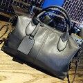 Famous Brand Leather Women's Bag 2017 New European Boston Handbag Women Messenger Bag Women Tote Gray bolsa bolsos mujer FR237