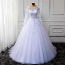 Wuzhiyi plus size wedding vestido longo Custom Made Colher Real Pic Apliques vestido de Baile vestido de noiva rendas Princesa para casamento