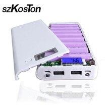 חדש DIY 8x18650 נייד סוללה כוח בנק פגז מקרה תיבת LCD תצוגה כפולה USB Powerbank תיבת ערכת Powerbank 18650 (אין סוללה)