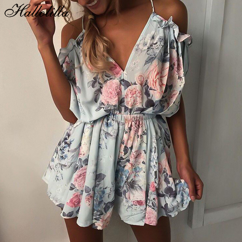 Bohemian Style Playsuit Floral Print Sexy Rompers Short Overalls Top Macacao Feminino Women Clothes Casual Summer Beach Jumpsuit(China)