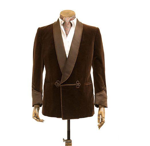 Коричневый курительный бархатный костюм мужской курительный Пиджак однобортный смокинг Свадебная вечеринка выпускное платье шаль лацкан