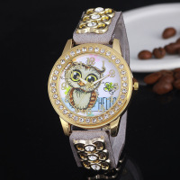 XG598 Casual Women's Quartz Wristwatch Luxury Diamond Leather Women's Bracelet Watches Owl Relogio Feminino Reloj Mujer Clock