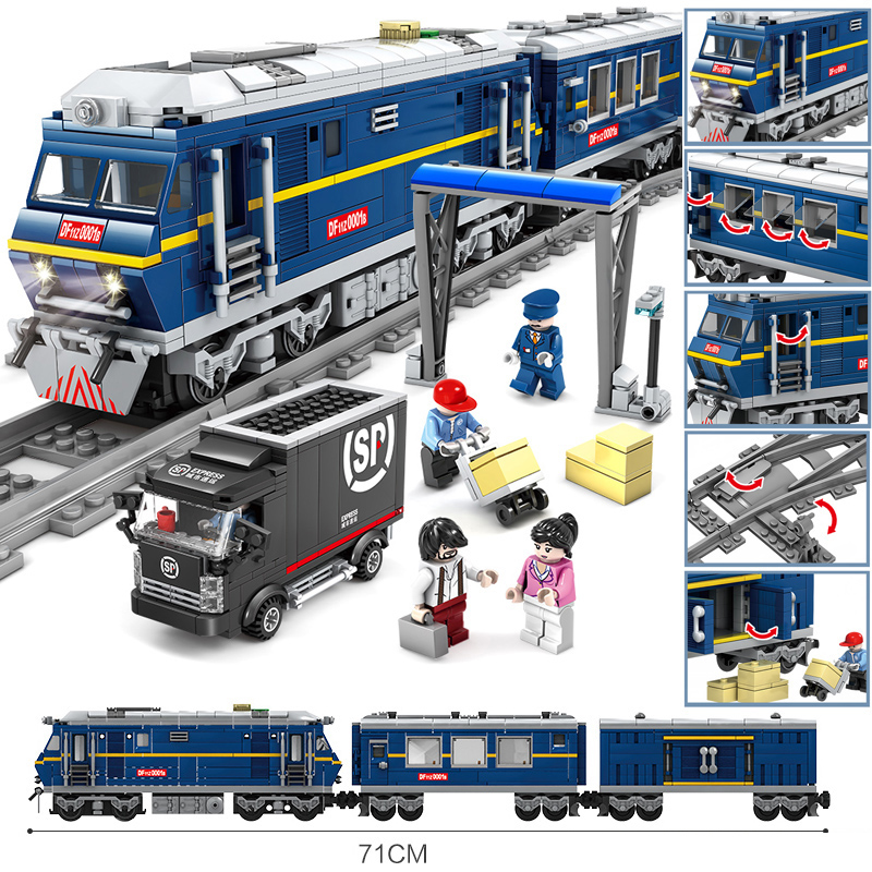 KAZI Battery Powered Electric legoing City Train Rail Cargo Set Building Blocks Bricks Christmas Gift DIY Toys For Children Boys