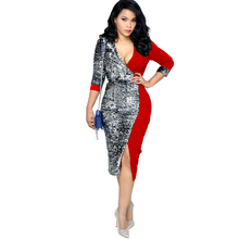 2019 spring new sequin dress stitching deep V-neck womens straps split woman Red Black Blue