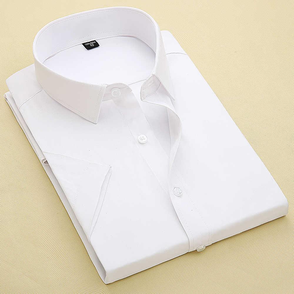 夏のシャツ半袖固体ホワイトカラー男性シャツ男性作業服カミーサ masculina