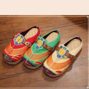 Image 5 - Johnature 2020 新手作り春/秋ラウンド花キャンバスカジュアル刺繍リネン綿の靴の女性フラットプラットフォーム