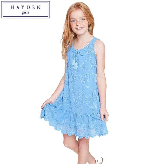 761c2244f4c7f HAYDEN Filles 3D Fleur Robe Fille Enfants Brodé Robes D été 2017 Sans  Manches Robe