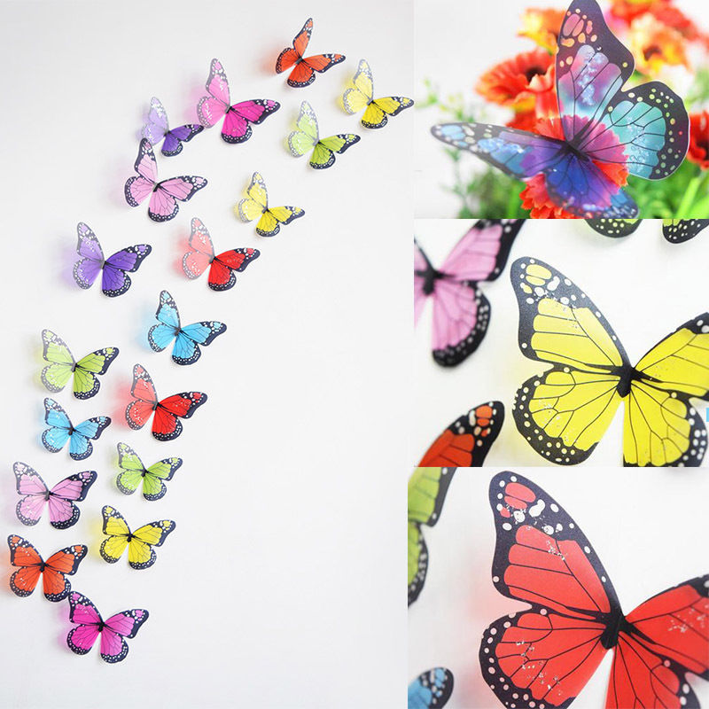 18 Pieces 3D Butterfly Crystal Transparent Decor Sticker Home Decoration  Accessories Wall Art For Kids Rooms Decals New In Wall Stickers From Home U0026  Garden ...