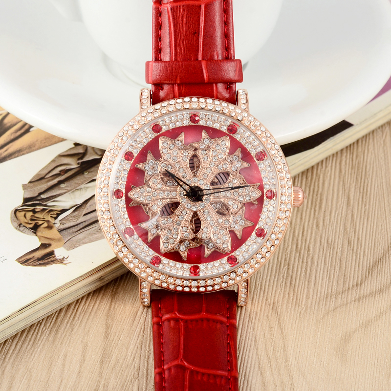GOOD LUCK Rotation Series Crystals Watches Women Blingbling Crystals Snowflake Party Dress Wrist watch Quartz 45MM Relojes W057