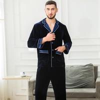 Зимние пикантные мужской шелковый бархат пижамы наборы элегантные модные пижамы мужские пижамы Повседневная теплая Пижама сна Lounge Пижама