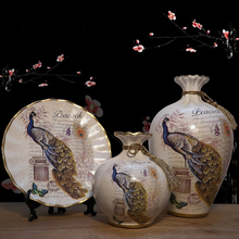 European ceramic vase 3-piece set dry flower ornament container living room porch decoration home