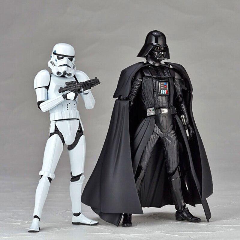 2017 New Star Wars Revoltech Darth Vader 001 Stormtrooper 002 PVC Action Figures Collectible Model Toy Y6255 saintgi star wars darth maul play arts original darth vader espada bb8 figures toys revoltech pvc collectible model 26cm