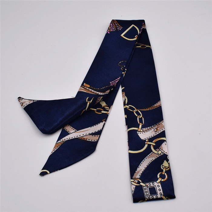 HTB1yuN3aLBj uVjSZFpq6A0SXXaj - Small Silk Scarf For Women New Print Handle Bag Ribbons Brand Fashion Head Scarf Small Long Skinny Scarves Wholesale