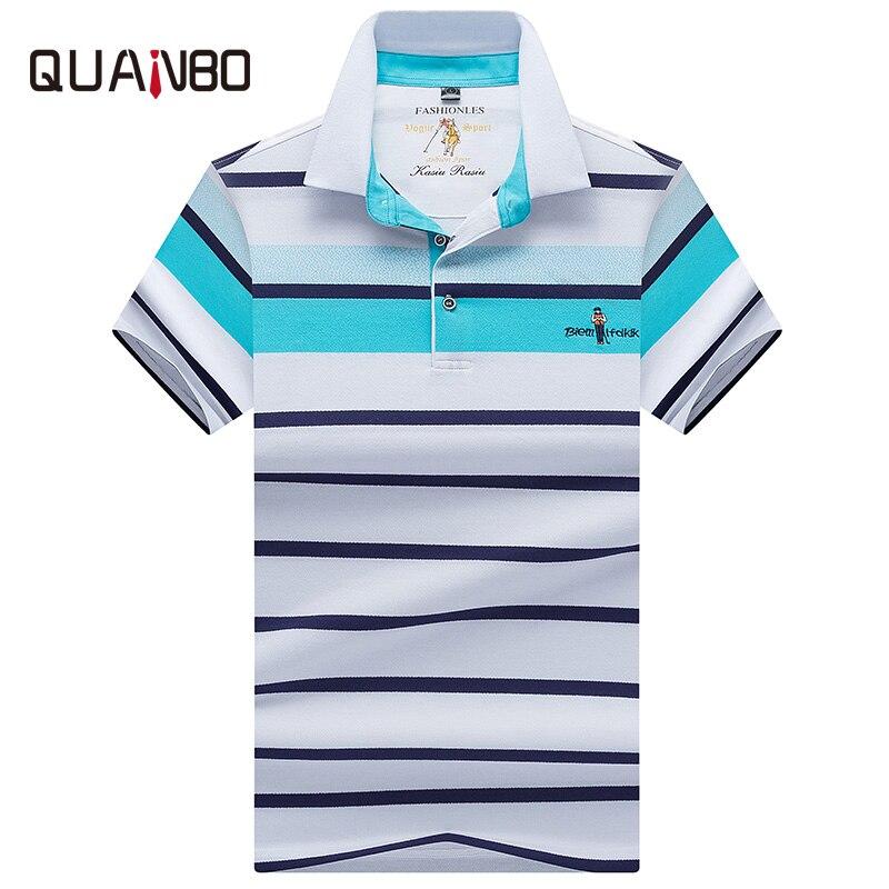 QUANBO Nouvelle Broderie Baseball Polo 2018 Marque Vêtements D'affaires décontracté Rayé Hommes Polo courtes manches Coton Polo