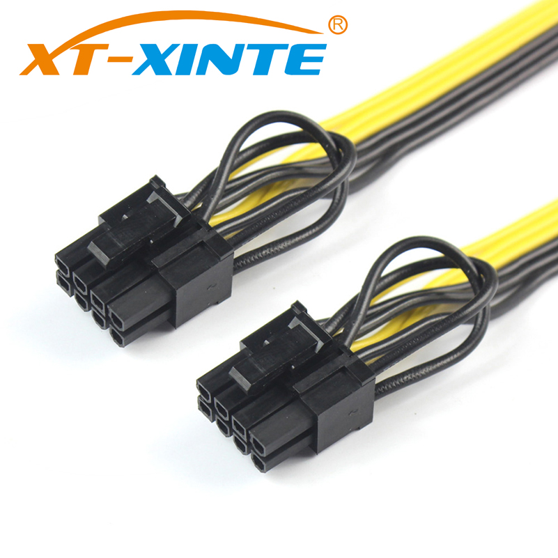 25cm CPU 8Pin to Graphics Video Card Double PCI-E PCIe 8Pin ( 6Pin + 2Pin ) Power Supply Splitter Cable Cord