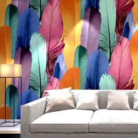 Fashion personality Colorful Peacock Feather Wallpaper 3d Stereo TV Background Wall KTV Flash Reflective Wallpaper Bar Wallpaper