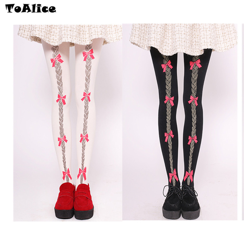 Cute Bow Braid Print Velet Lolita Tights Sexy Tights Japanese Princess Sweet Girls Women Pantyhose 120D Stockings White & Black